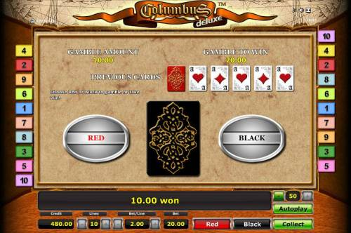 Columbus Deluxe Review Slots Gamble feature is available after every winning spin. Choose Red or Black to gamble or take win.