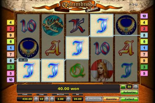 Columbus Deluxe Review Slots four of a kind triggers a 40.00 jackpot payout
