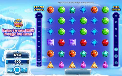 Cool Jewels Review Slots Main game board featuring six reels and no paylines with a $250,000 max payout