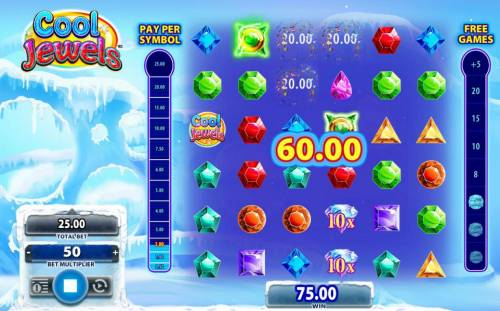 Cool Jewels Review Slots Matching symbols triggers a 60.00 winning combination