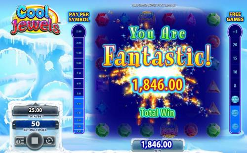 Cool Jewels Review Slots a 1,846.00 big paid out after completeing the free games bonus feature.