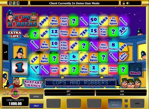 Cops And Robbers Review Slots bonus feature game board
