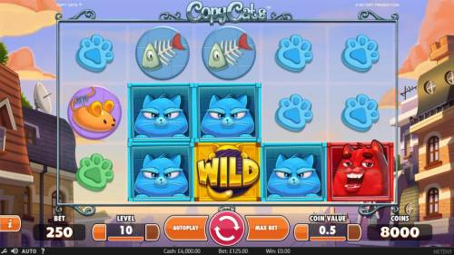Copy Cats Review Slots Main game board featuring five reels and 25 paylines with a $2,000 max payout.