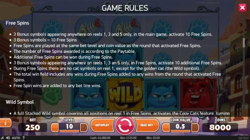 Copy Cats Review Slots Free Spins Rules