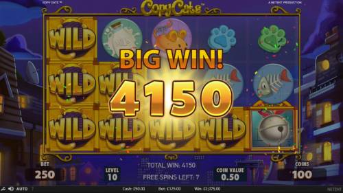 Copy Cats Review Slots Copy Cats Wild Feature triggers a 4150 coin big win during the free games feature.