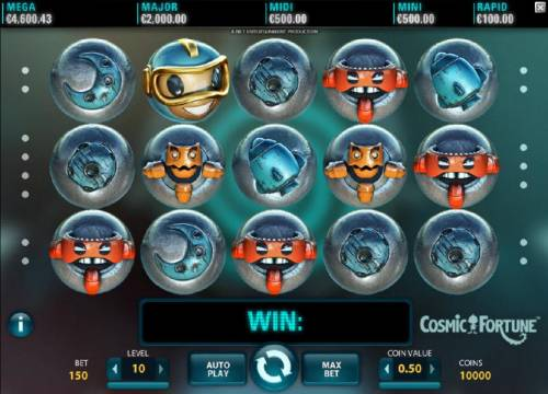Cosmic Fortune Review Slots Main game board featuring five reels, 15 paylines and a $7,500 max payout