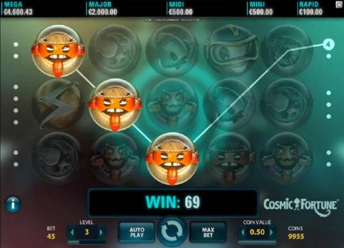 Cosmic Fortune Review Slots Three of a kind triggers a 69 coin payout