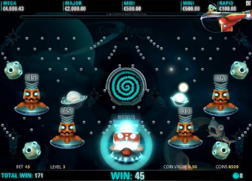 Cosmic Fortune Review Slots A ball drops into the Bonus container for extra points