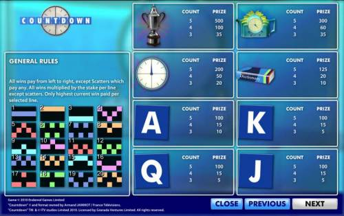 Count Down Review Slots paytable and paylines