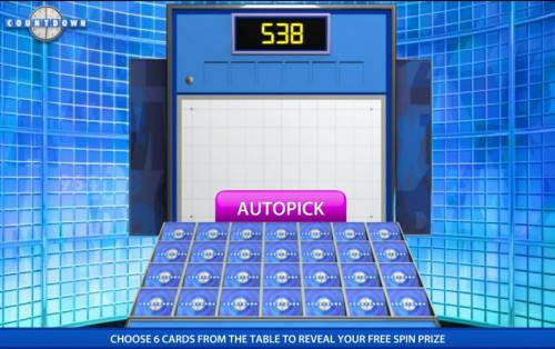 Count Down Review Slots pick 6 cards to reveal your prize award