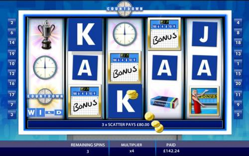Count Down Review Slots 3 scatter symbols re-triggers an additional 8 free spins