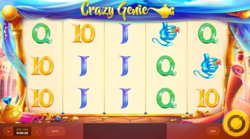 Crazy Genie Review Slots Main game board featuring five reels and 20 paylines with a $7,500 max payout.