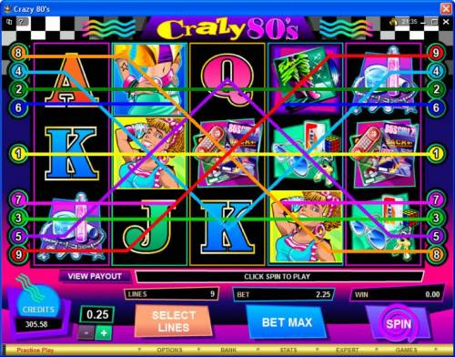 Crazy 80s review on Review Slots