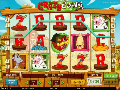 Crazy Cows Review Slots Four of a Kind triggers a 175 coin payout