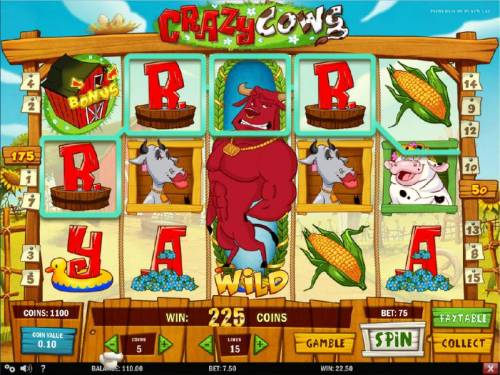 Crazy Cows Review Slots Expading Wild triggers a 225 coin big win!