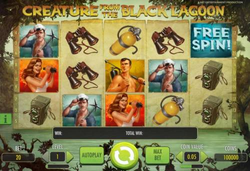 Creature from the Black Lagoon Review Slots main game board featuring five reels and twenty paylines