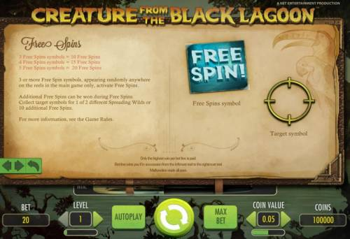 Creature from the Black Lagoon Review Slots free spins game rules