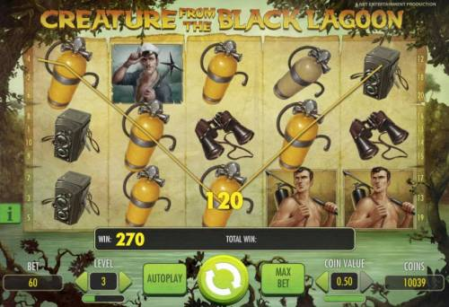 Creature from the Black Lagoon Review Slots multiple winning paylines triggers a 270 coin big win