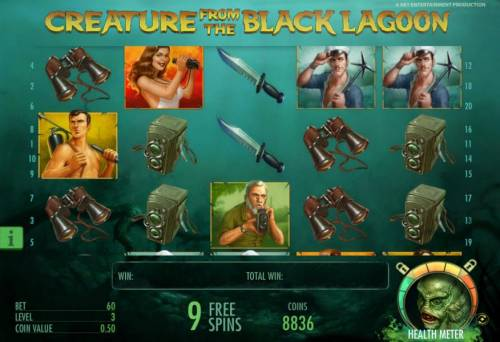 Creature from the Black Lagoon Review Slots free spins feature game board