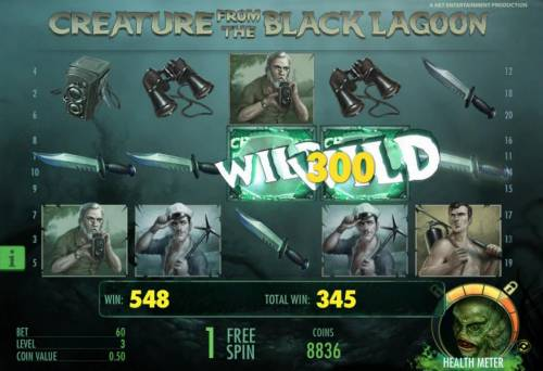 Creature from the Black Lagoon Review Slots five of a kind triggers a 300 coin payout during the free spins feature
