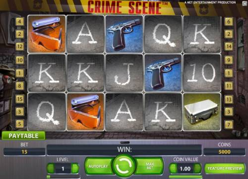 Crime Scene Review Slots main game board featuring five reels, 15 paylines and the chance to win up to 22500 coins