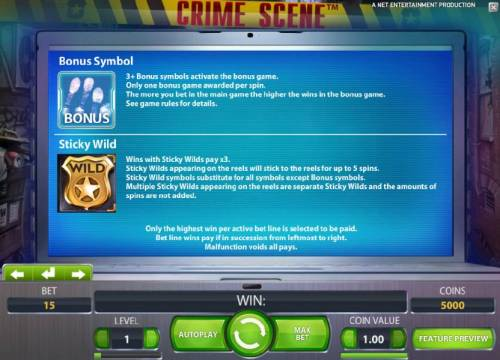 Crime Scene Review Slots bonus symbol and sticky wild game rules