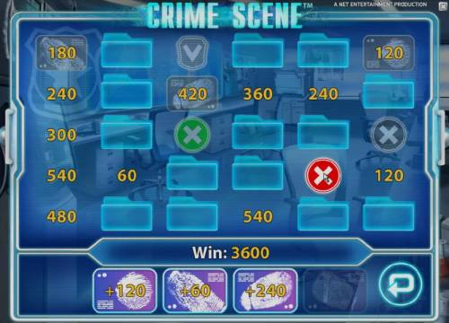Crime Scene Review Slots when you reveal an x symbol the bous game ends