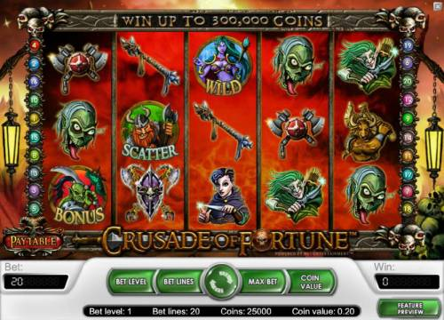 Crusade of Fortune Review Slots main game board featuring five reels, twenty paylines and a chance to win up to 300,000 coins