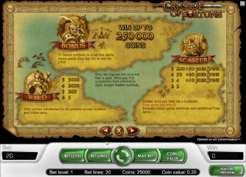 Crusade of Fortune Review Slots Bonus, wild and scatter symbols rules and payouts