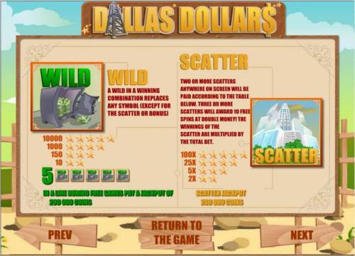 Dallas Dollars Review Slots wild and scatter feature rules and paytable