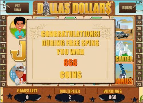 Dallas Dollars Review Slots the free spins feature pays out an 868 coin jackpot