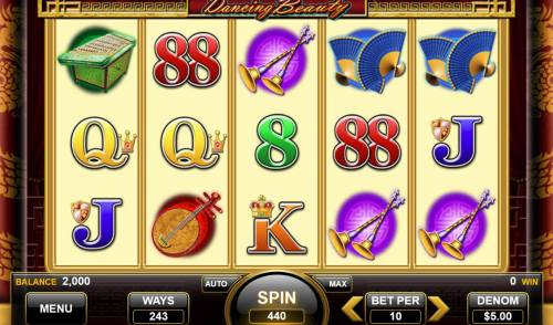 Dancing Beauty Review Slots Main game board featuring five reels and 243 ways to win with a $13,200 max payout.