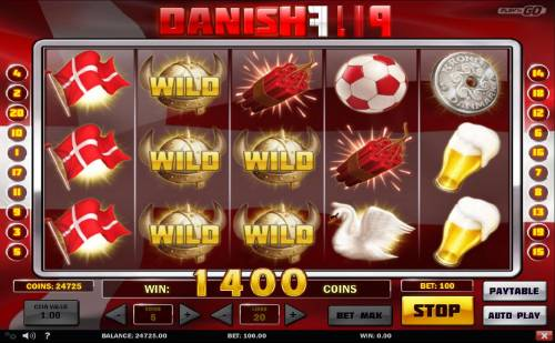 Danish Flip Review Slots Wild symbols combine with flag symbols on reels 1, 2 and 3 for a 1400 coin jackpot.