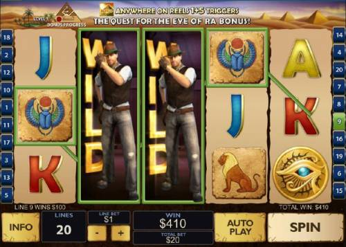 Daring Dave & the Eye of RA Review Slots expanding wilds triggers multiple winning paylines and a 410 coin jackpot