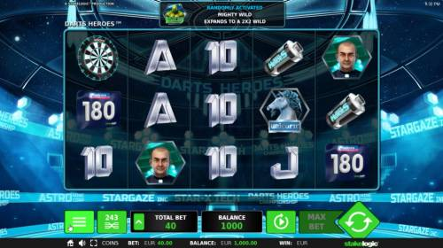 Darts Heroes Review Slots Main game board featuring five reels and 243 winning combinations with a $26,730 max payout.