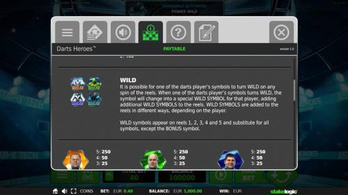 Darts Heroes Review Slots Wild Symbol Rules - It is possible for any of the Darts players symbols to turn wild on any spin of the reels.
