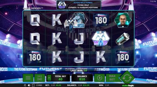 Darts Heroes Review Slots Each of the Darts players has its own designated wild symbol that can appear during any spin. Here we have the Flying Wild has been activated and will expand according to the game rules.