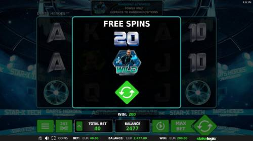 Darts Heroes Review Slots 20 free spins awarded.