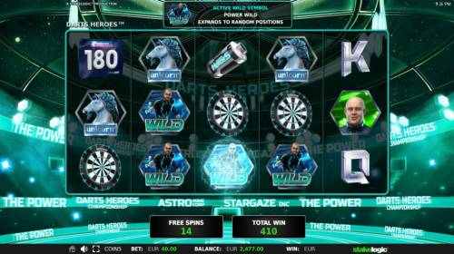 Darts Heroes Review Slots Power Wild expands  during the free spins feature triggering multiple winning combinations