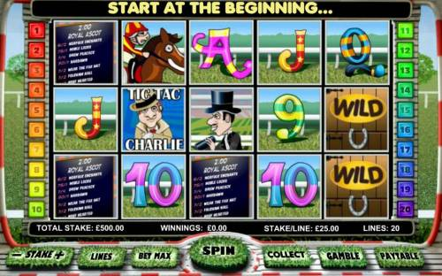 Day at the Races Review Slots Main game board featuring five reels and 20 paylines with a $20,000 max payout