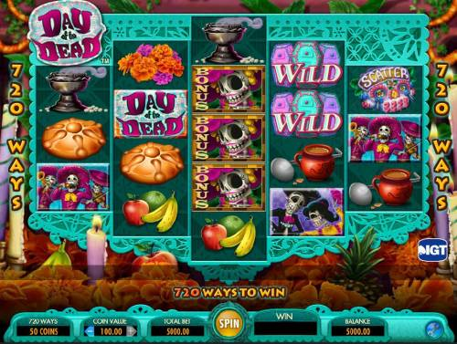 Day of the Dead Review Slots Main game board featuring five reels and 720 winning combinations with a $250,000 max payout