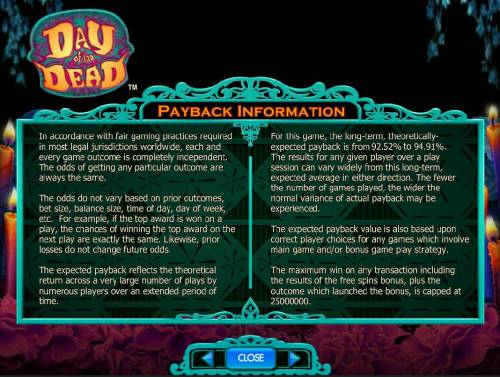 Day of the Dead Review Slots Payback Information - Theoretical return To Player is from 92.52% to 94.91%. The maximum win on any transaction is capped at 250,000.