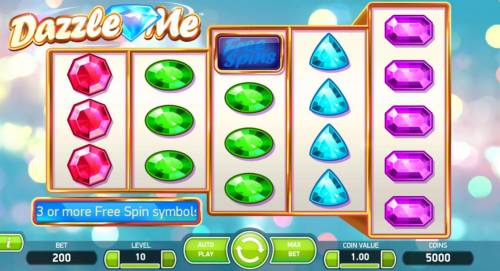 Dazzle Me Review Slots Main game board featuring five reels and 76 paylines with a $152,000 max payout