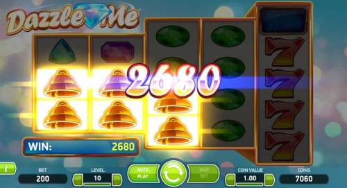 Dazzle Me Review Slots Gold bell symbols form multiple winning combinations leading to a 2680 coin payout.
