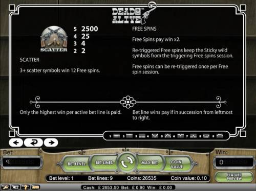 Dead or Alive Review Slots 3 plus scatter symbols win 12 free spins