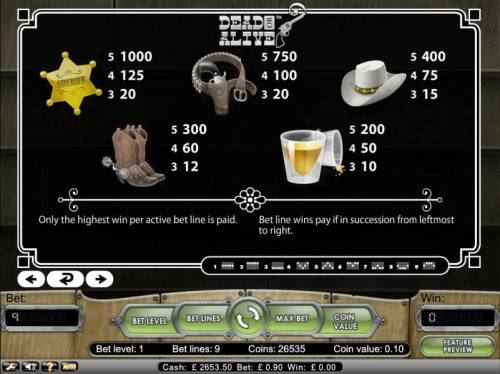 Dead or Alive Review Slots Only the highest win per active bet line is paid