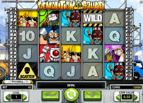 Demolition Squad Review Slots main game board featuring five reels and forty paylines