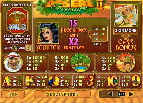 Desert Treasure II Review Slots paytable featuring wilds, scatters, free games oasis bonus and a 10,000x max payout