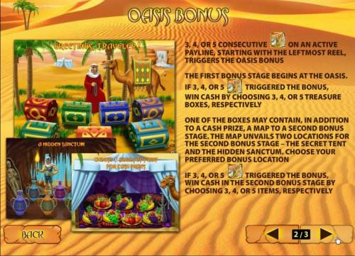 Desert Treasure II Review Slots oasis bonus triggered by three map symbols on reels 3, 4 or 5, consecutive, on an active payline