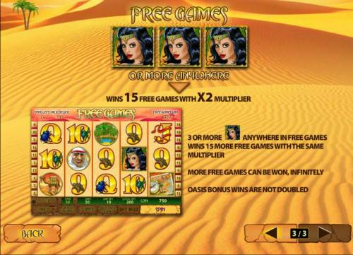 Desert Treasure II Review Slots three or more princess symbols anywhere triggers 15 free games with x2 multiplier